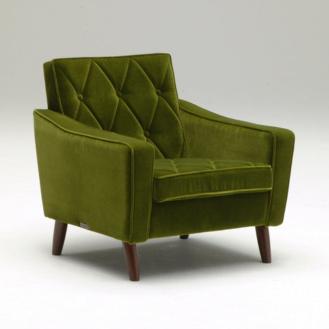 Karimoku60 - lobby chair one seater moquette green - Armchair