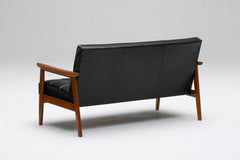 k chair two seater leather black