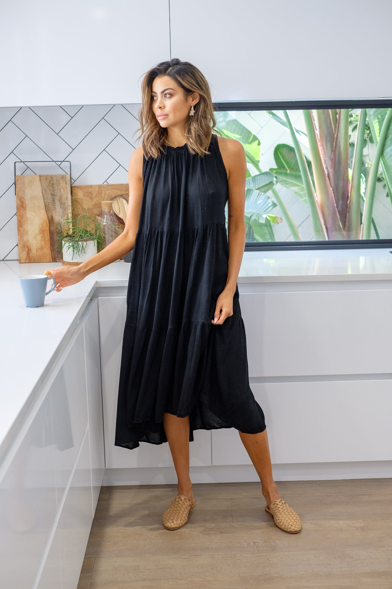 MELEAH Tiered Maxi Dress - Black