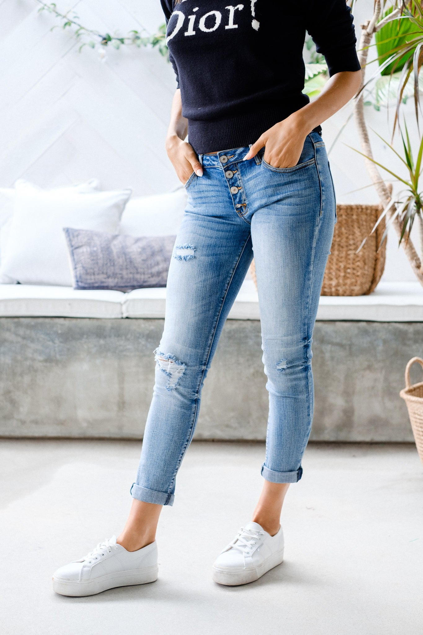CARVER Distressed Girlfriend Jeans
