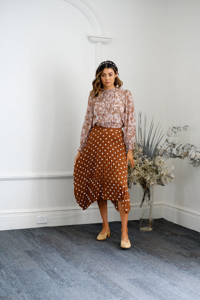 REECE Pleat Skirt - Brown Polka
