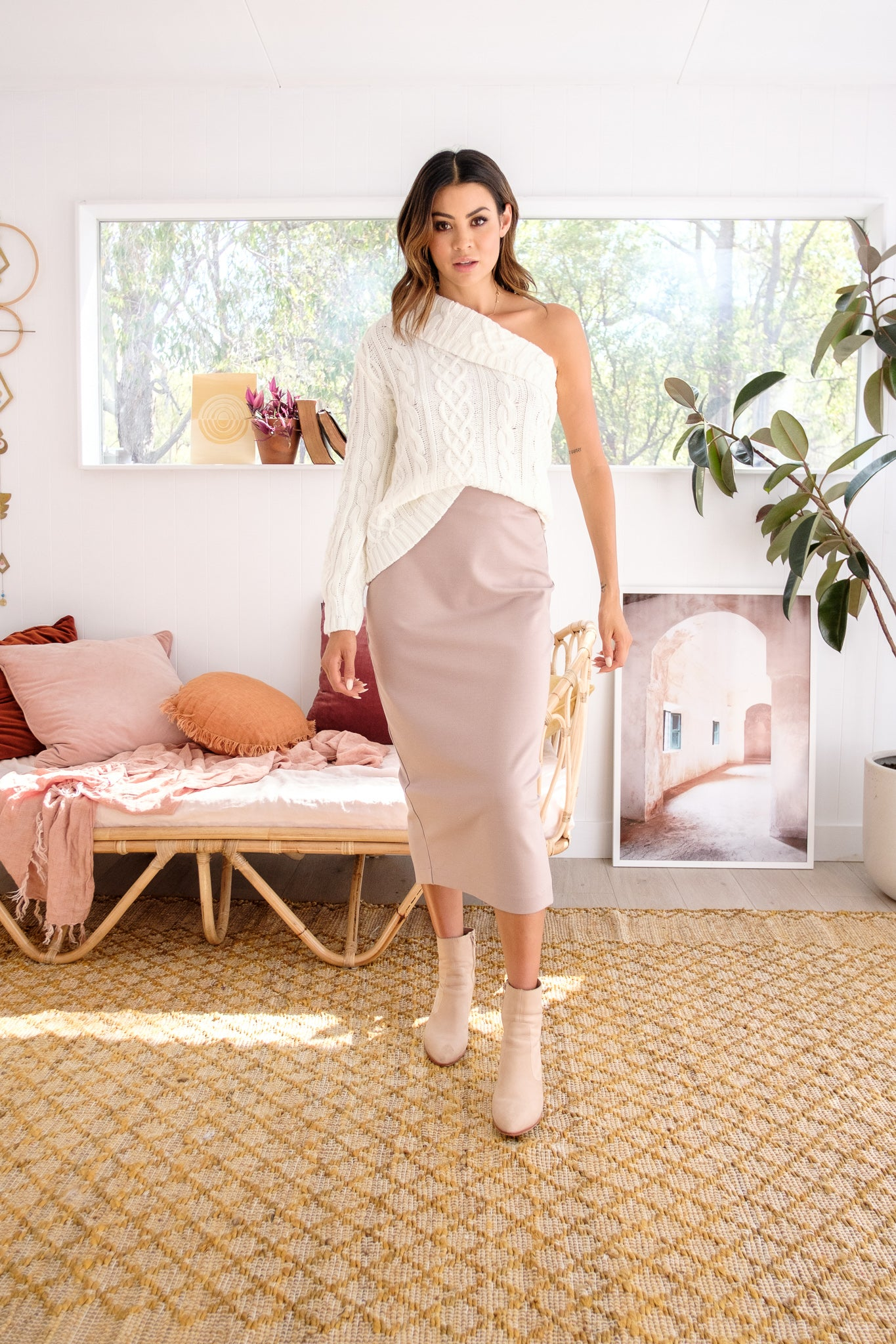 ZITA One Shoulder Knit - Cream