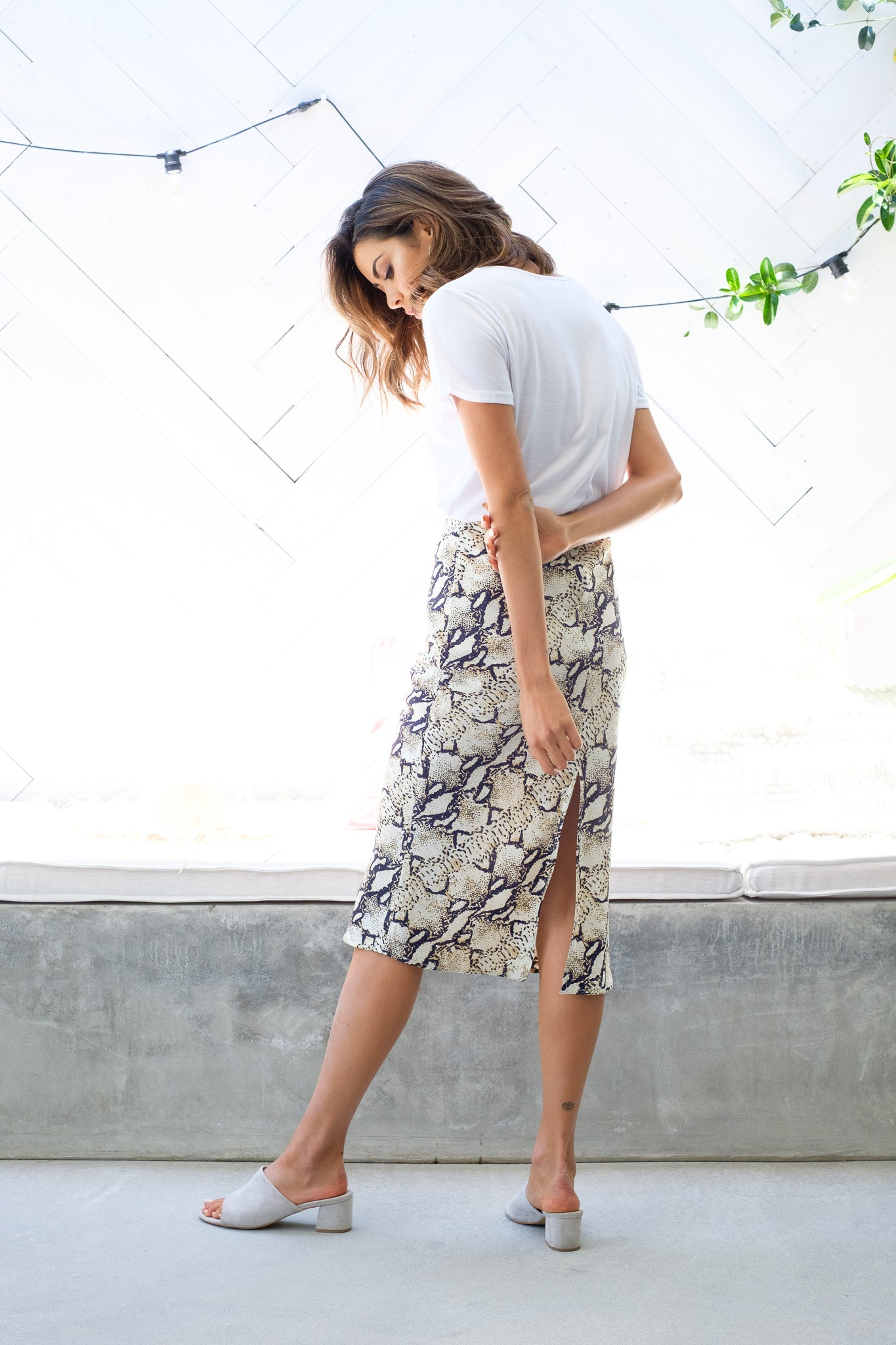 GINA Snake Print Midi Skirt Out With Audrey