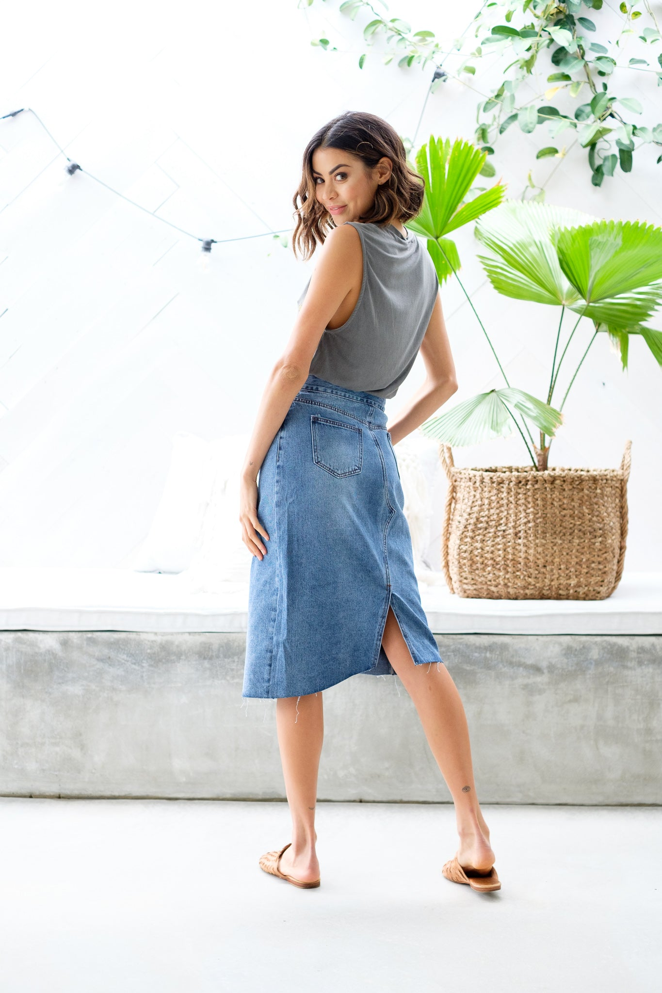 TYLER Denim Midi Skirt