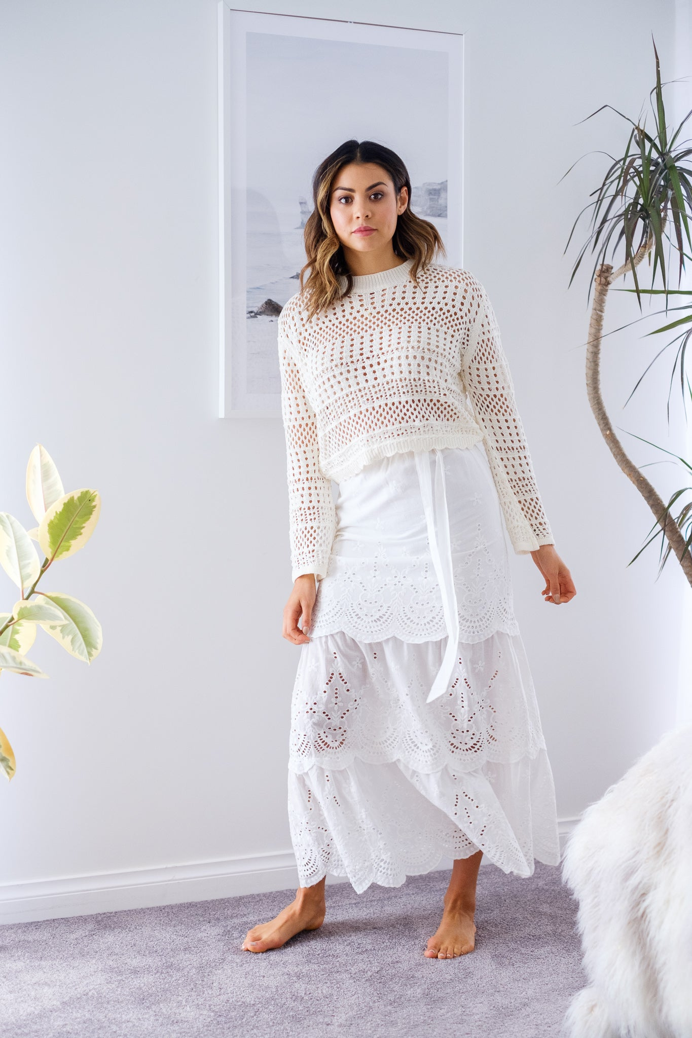 LUCIE Embroidered Scalloped Skirt – White