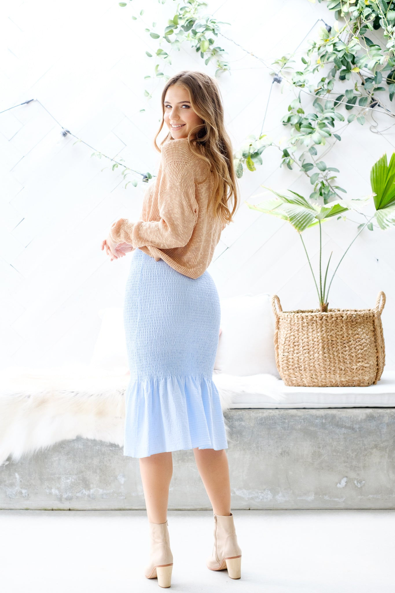 CASEY Shirred Midi Skirt – Baby Blue