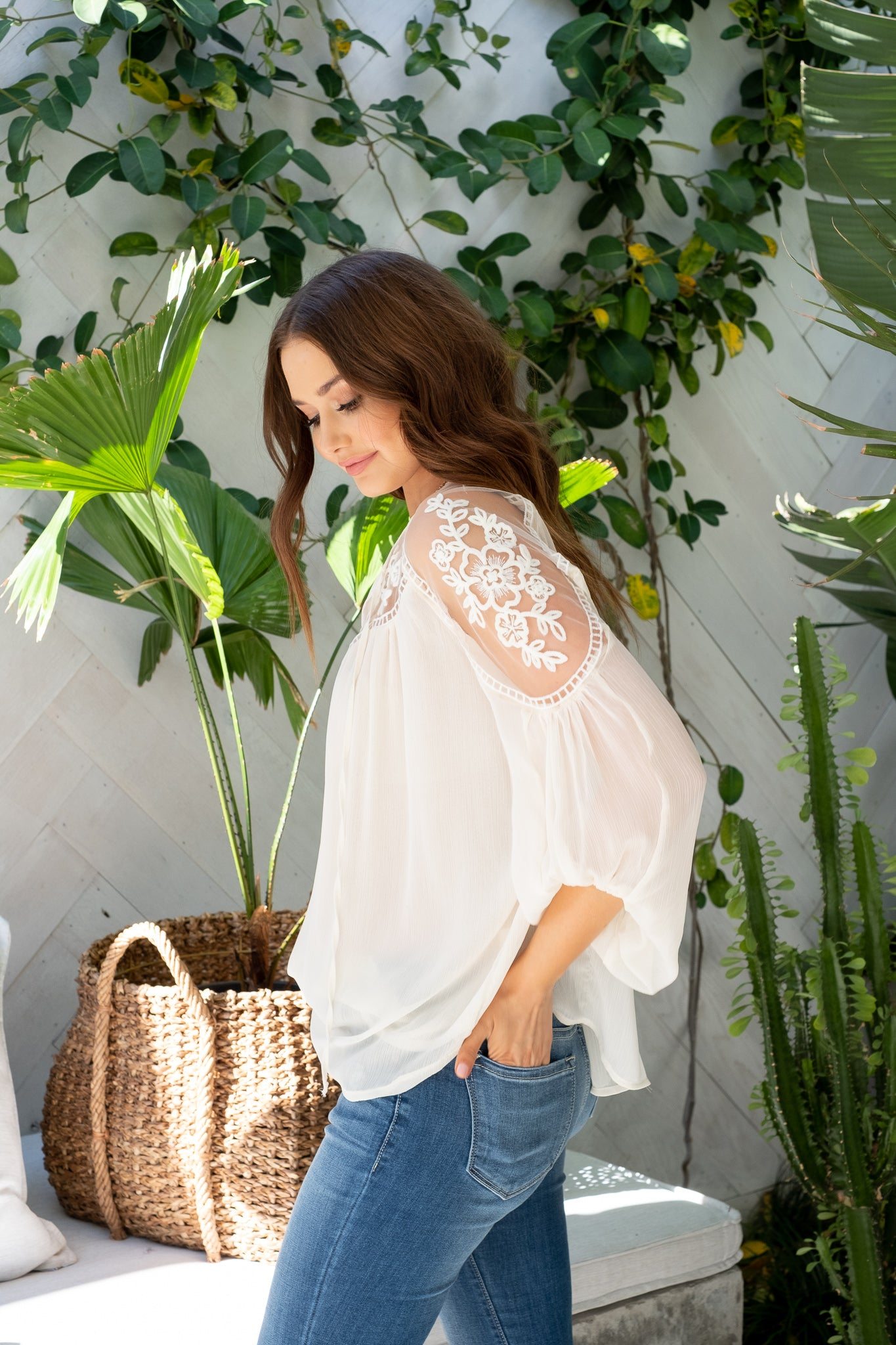 ASHTON Embroidered Lace Top - Off White