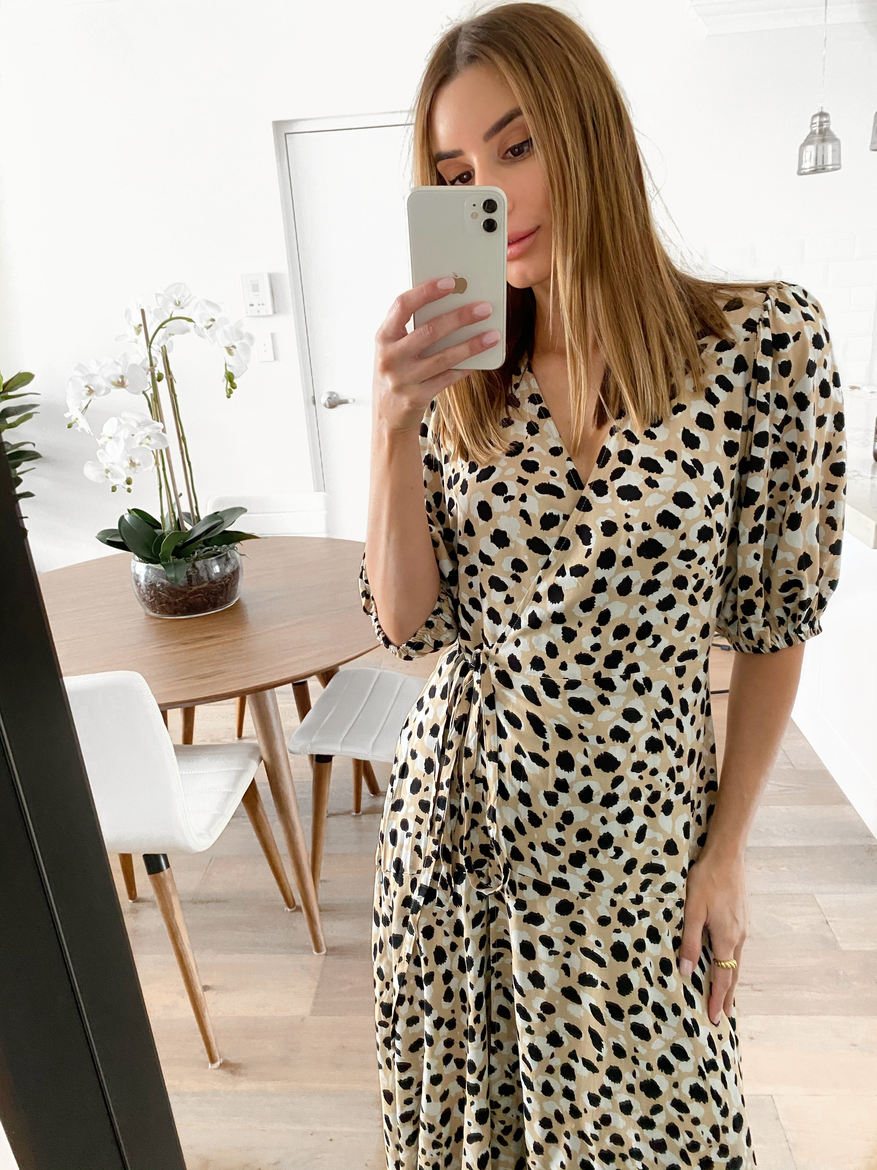 TESS Wrap Dress - Leopard