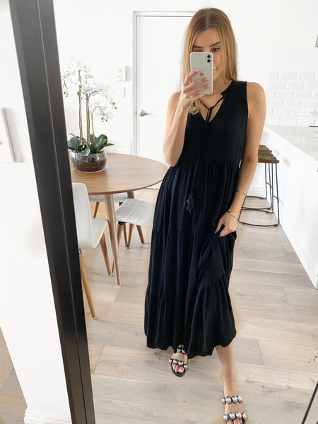 MARTA Tiered Maxi Dress - Black