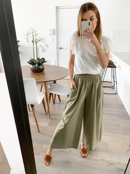 MERCER Wide Leg Pants - Khaki
