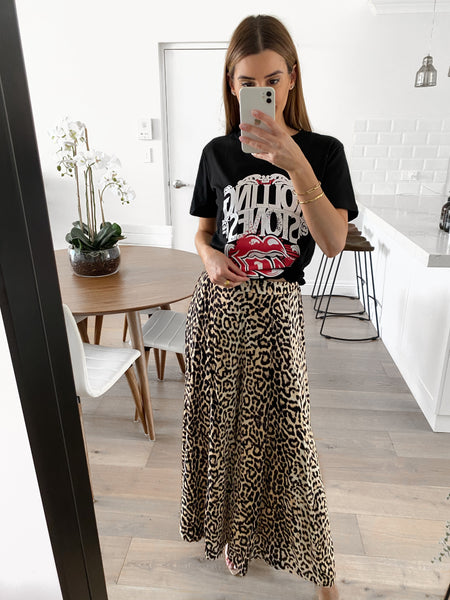 JIMMY Wide Leg Pants - Leopard