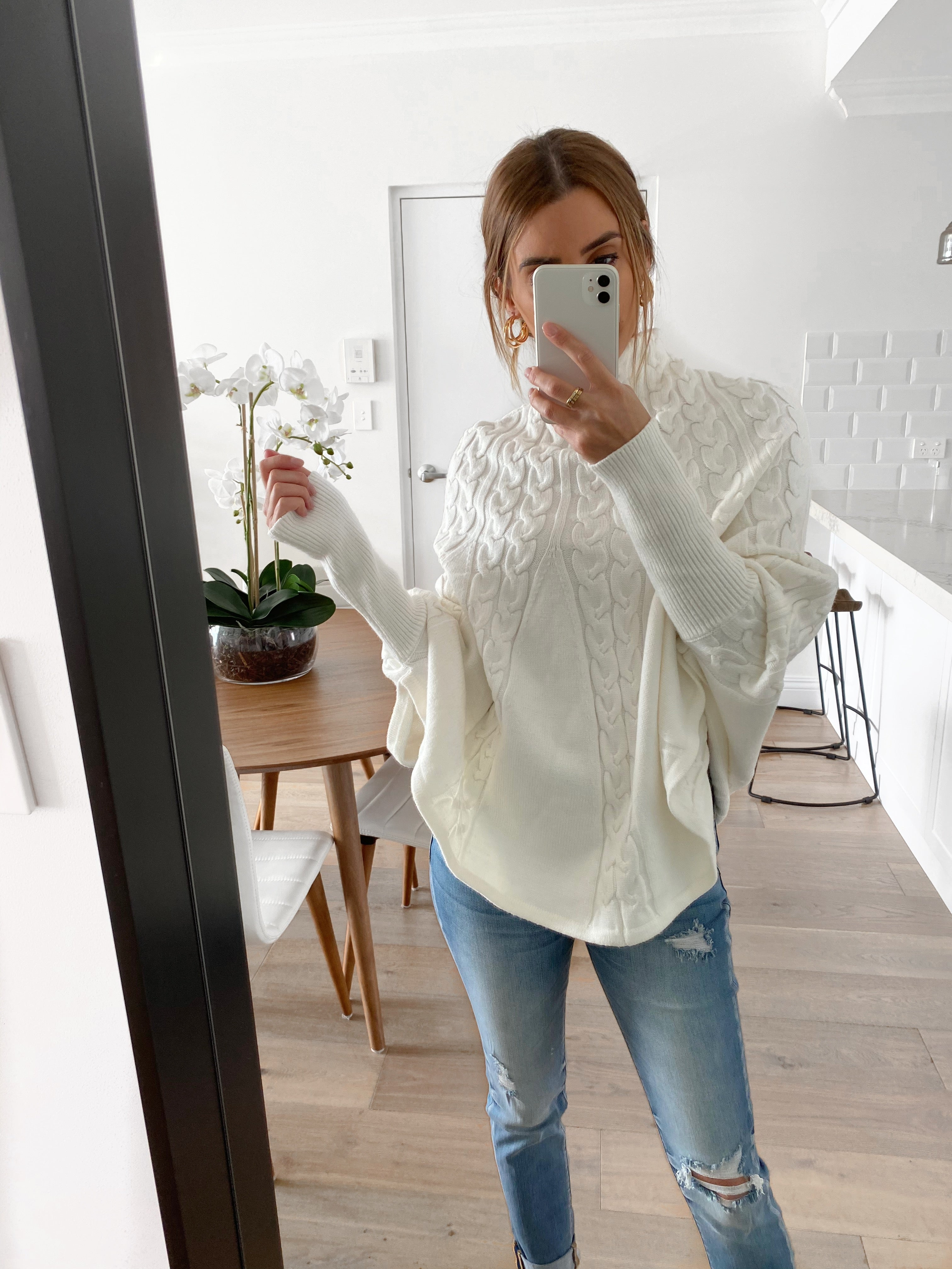 ZIMMY Cable Knit Poncho Sweater
