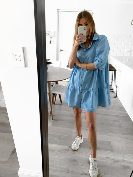 CAMMY Chambray Tunic Dress - Light Blue
