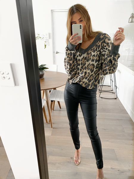 PAIGE Twist Front Leopard Pullover - Heather Grey