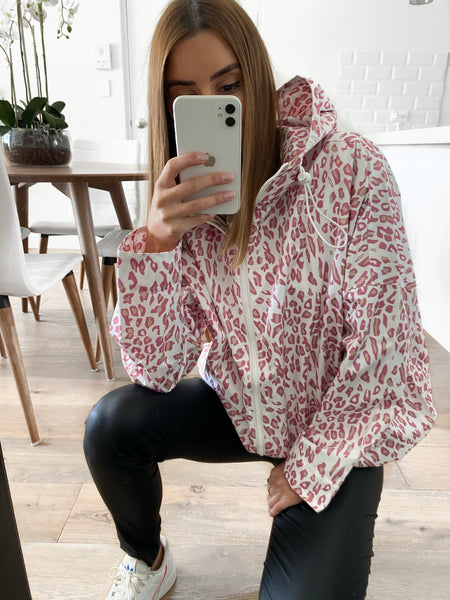 MAX Hooded Leopard Parka - Blush Leopard