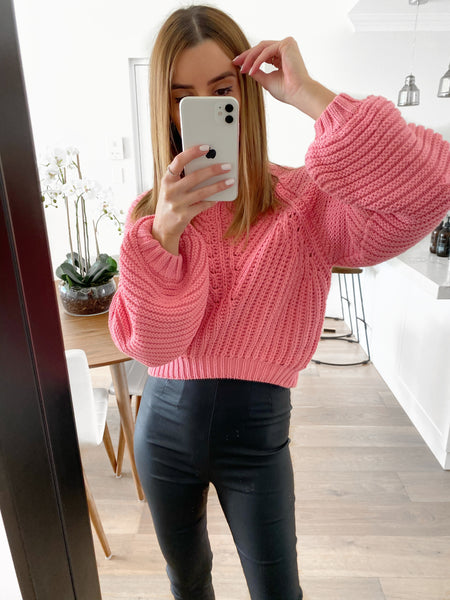 CHER Balloon Sleeve Knit - Pink