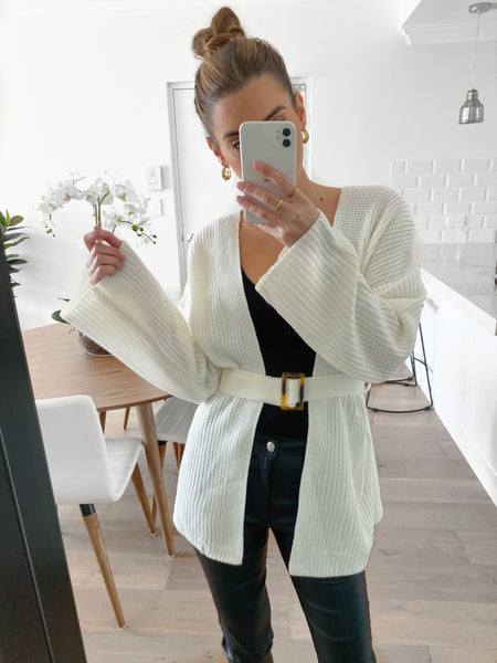JOSIE Belted Cardy - Off White