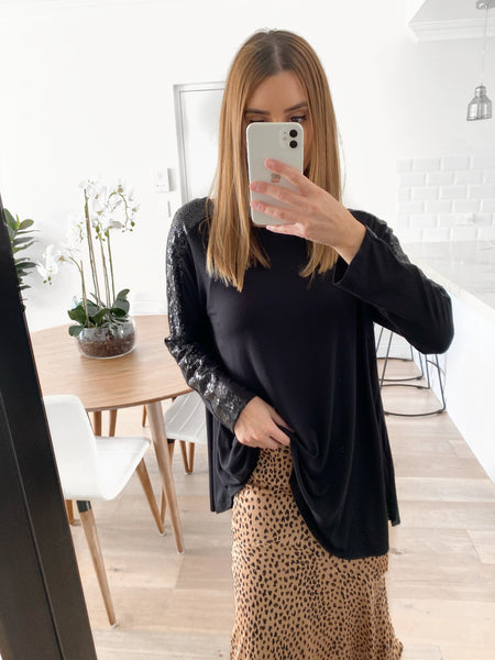 JEANIE Sequin Pullover - Black