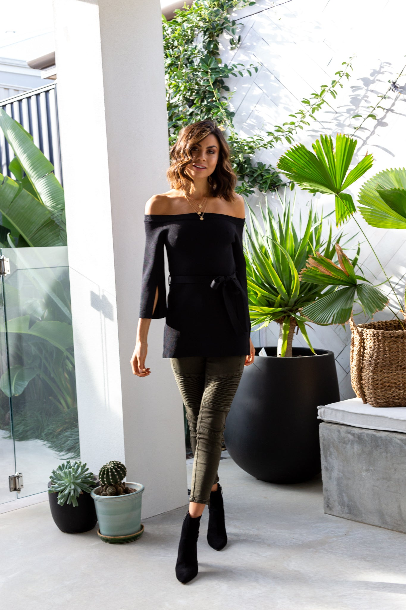 SOPHIA Knit Off Shoulder Top - Black