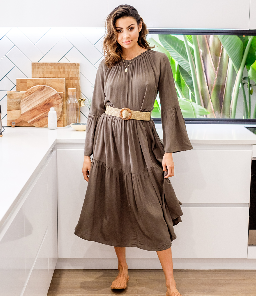 NATALIE Long Sleeve Dress - Khaki