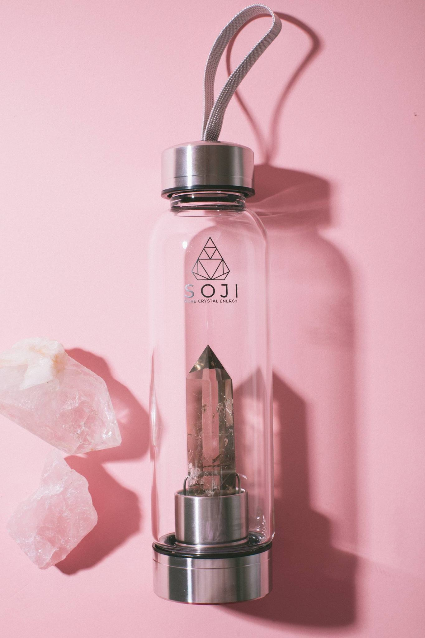 SMOKEY QUARTZ Crystal Elixer Water Bottle