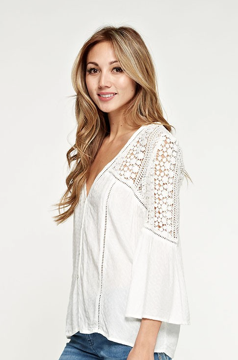 ARIEL Crochet Blouse - White