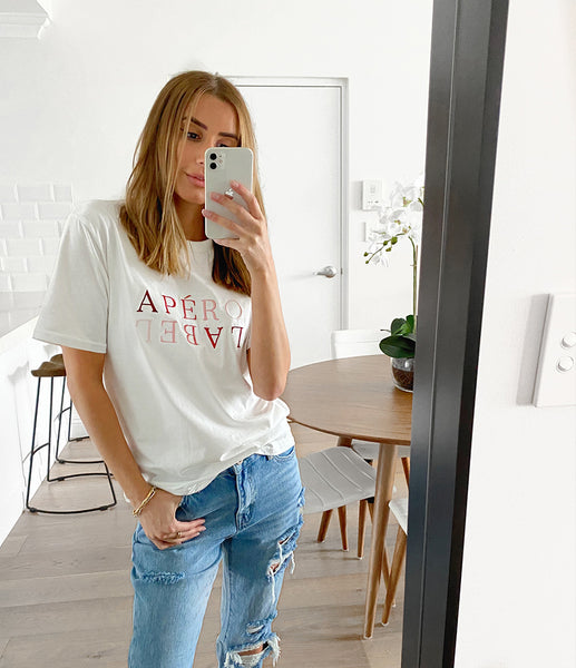 APERO Embroidered Fade Tee - White/Berry