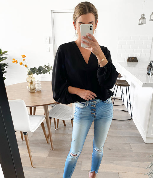 OLLIE Balloon Sleeve Blouse - Black