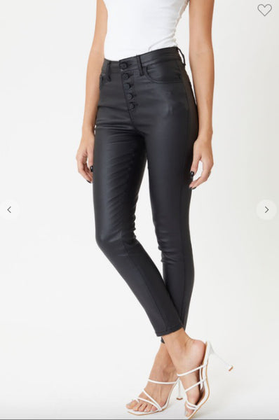 BRONX Buttoned Skinny Jeans - Black Waxed