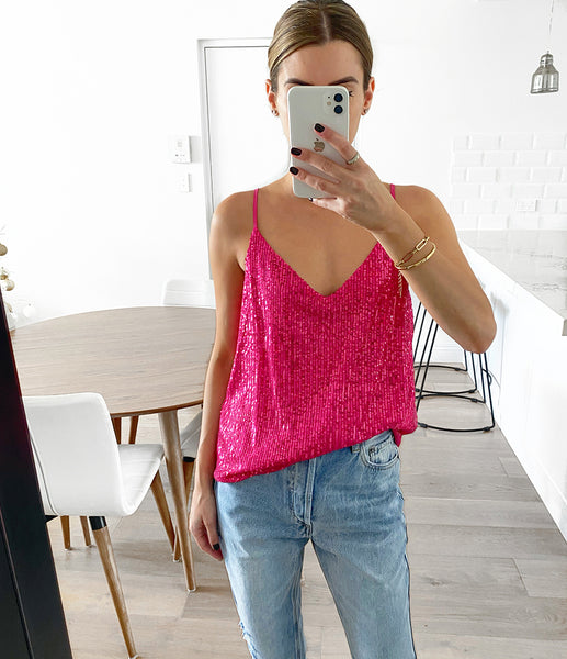 JANE Sequin Cami - Fuchsia