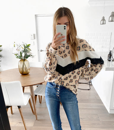 PEPE Top - Chevron Leopard