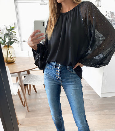 DYLAN Sequin Top - Black