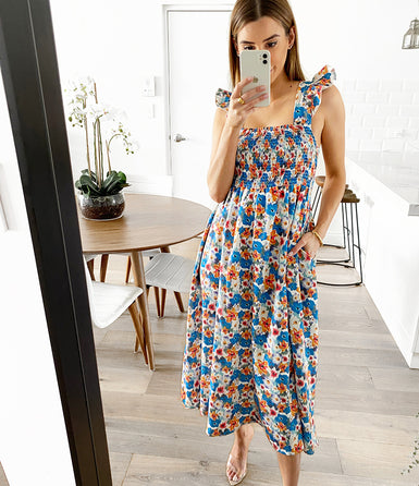 JADA Pocketed Maxi - Blue Floral