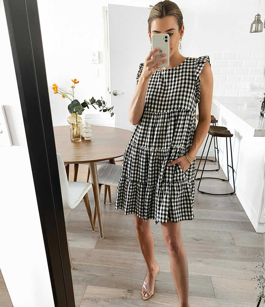 ADDISON Shirred Top - Gingham