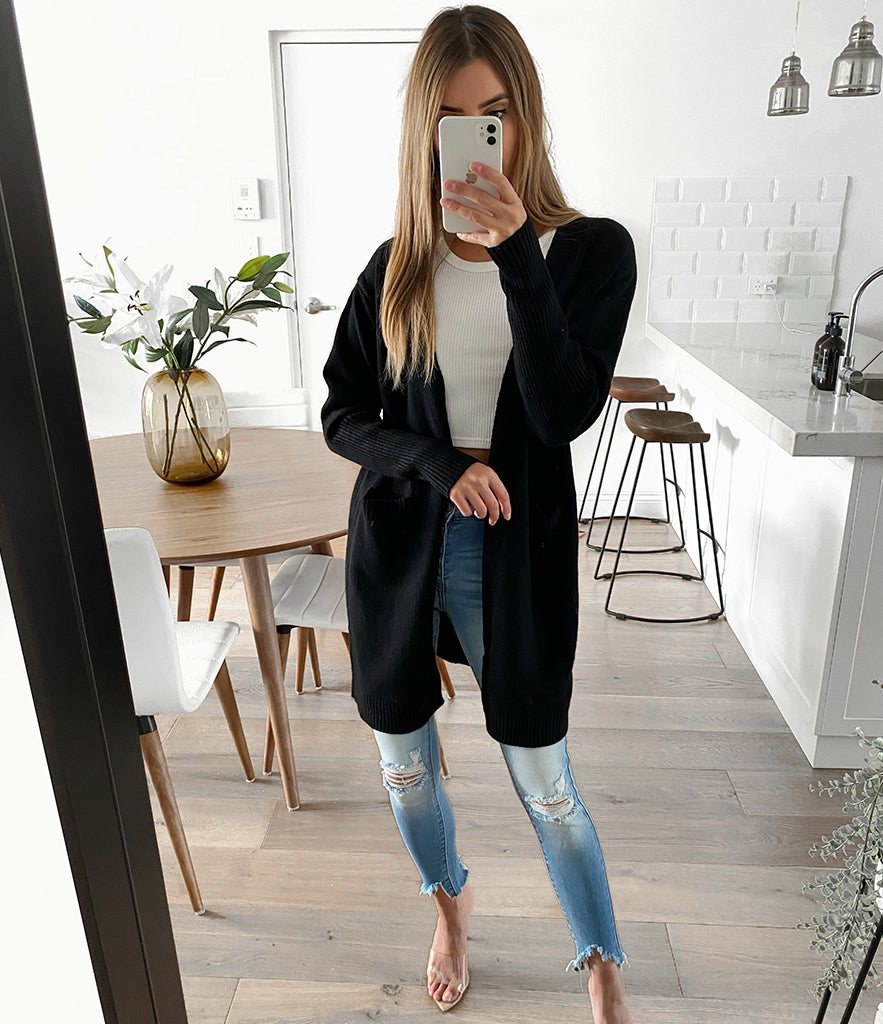 GRACIE Long Cardigan -Black