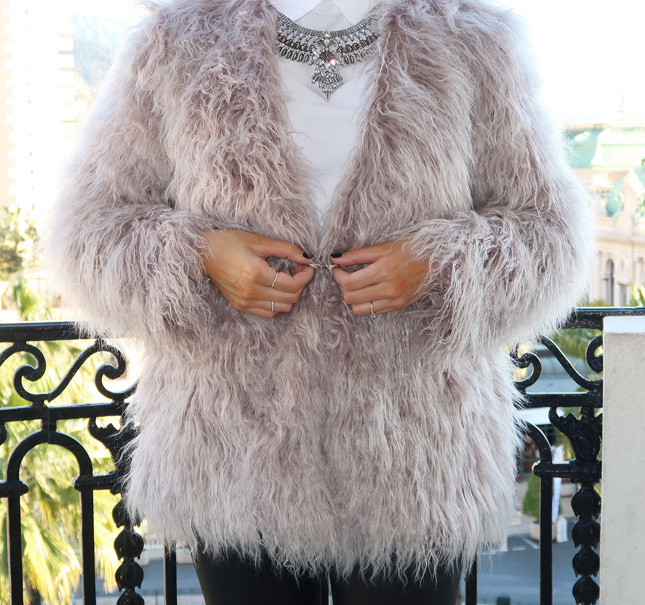 MARSEILLE Fur Jacket - Grey