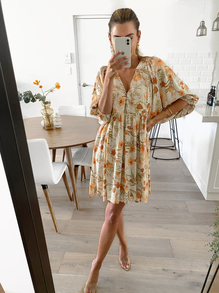 ADELE Dress - Tangerine Floral