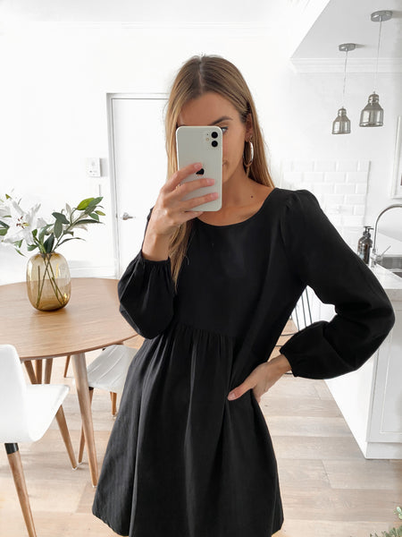 ARIEL Pocketed Tunic Dress - Black
