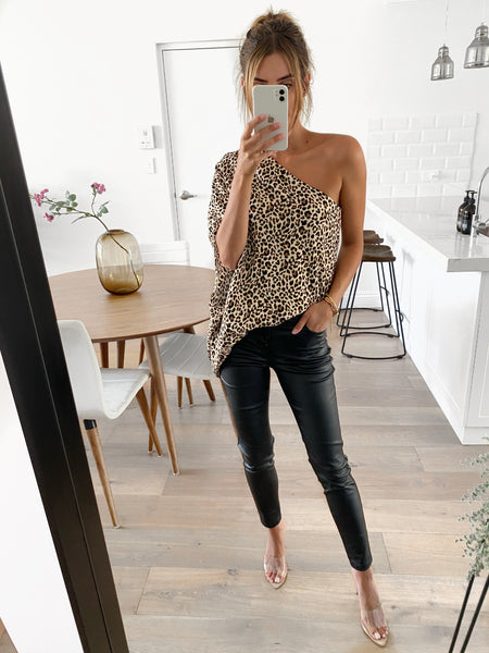 MARSDEN One Shoulder Top - Leopard