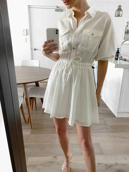 THEO Shirt Swing Dress - White
