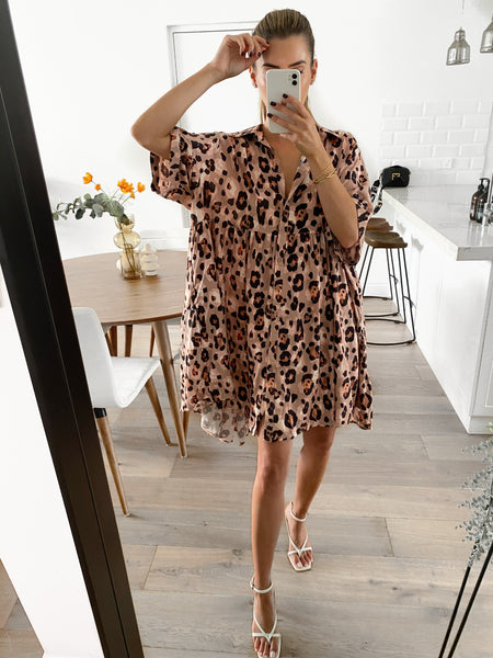 MADDY Tiered Dress - Salmon Leopard (Pre-order)