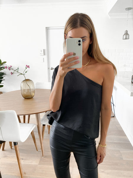 RACHEL One Shoulder Top - Black (Pre-order)