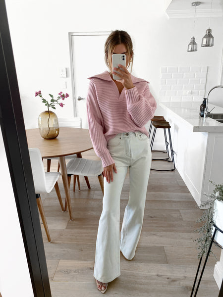 BETTY Collared Knit - Blush Pink