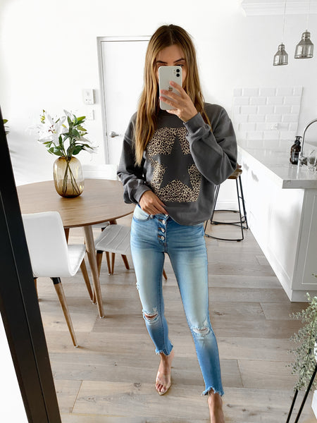 BLOOM Star/Leopard Sweater - Charcoal