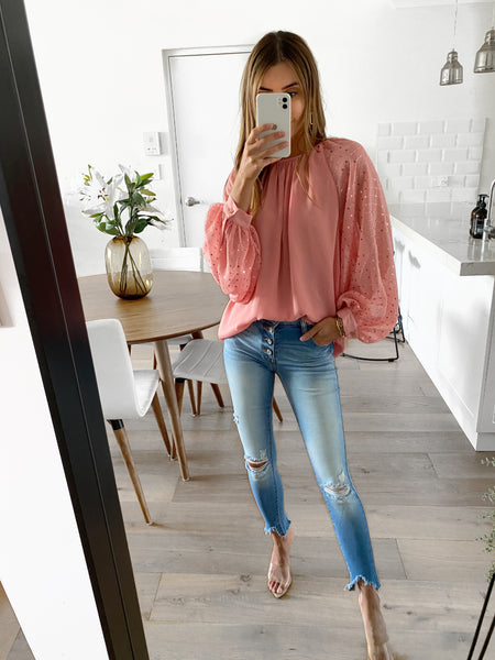 DYLAN Sequin Top - Salmon Pink