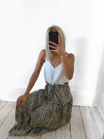 ZORO Leopard Tiered Maxi Dress