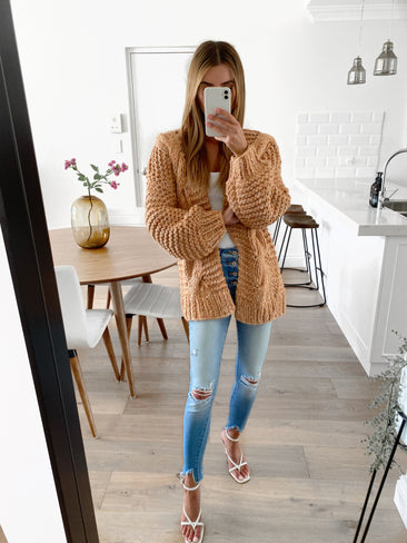 GINGER Chunky Cable Knit Cardy - Camel
