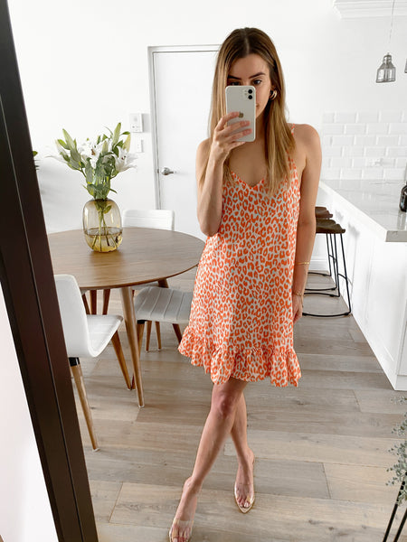 CATIA Slip Dress - Tangerine Leopard