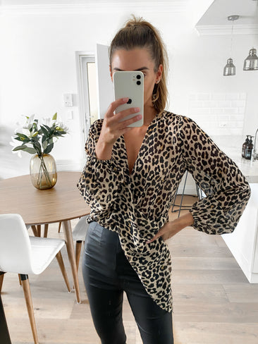AREILLA Draped Leopard Top