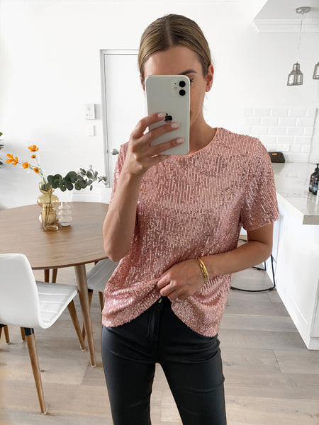 TILLY Sequin Tee - Blush